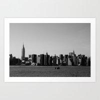manhattan Art Prints featuring Manhattan by Q'ba