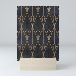 Black & Gold Geometric Art Deco Pattern Seamless Vintage Glamorous 1920s Style Mini Art Print