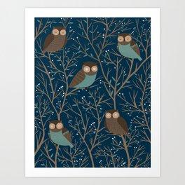 Midnight owls pattern Art Print