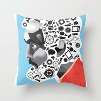 kubrick Throw Pillows featuring Stan the Man: Stanley Kubrick by kelsea everett