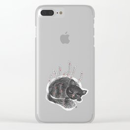 Sleepy kitty Clear iPhone Case