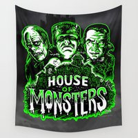 dracula Wall Tapestries featuring House of Monsters Phantom Frankenstein Dracula classic horror  by Scott Jackson Monsterman Graphic