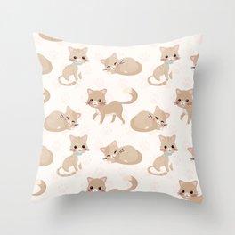 Ragdoll Cats Pattern – Cream Paw Print Background Throw Pillow