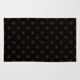 Chocolate Brown on Black Snowflakes Rug