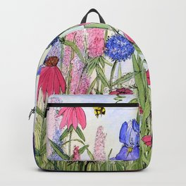 Colorful Garden Flower Acrylic Painting Backpack