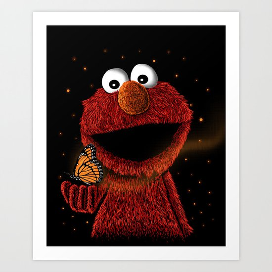 Elmo and Little Butterfly Art Print
