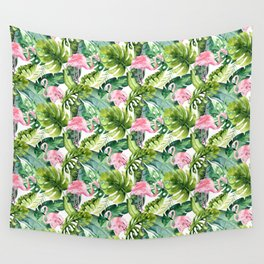 Pink green watercolor flamingo tropical monster leaves Wall Tapestry