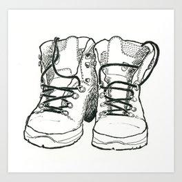 Walking Boots Art Print