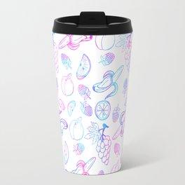 Hand painted teal pink watercolor fruit pattern Travel Mug