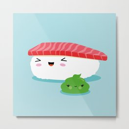 Best Friends Illustration Kawaii Sushi Nigiri and Wasabi Metal Print