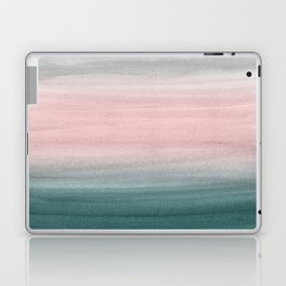 Touching Teal Blush Gray Watercolor Abstract #1 #painting #decor #art #society6 Laptop & iPad Skin