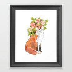 fox with flower crown Framed Art Print