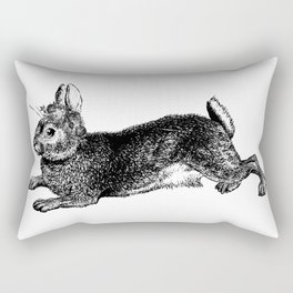The Rabbit and Roses | Black and White Rectangular Pillow