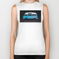vw bus Biker Tanks featuring Vintage VW Bus Rusted  by Limitless Design