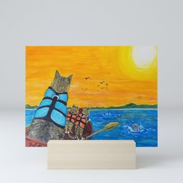 Cats in a boat watching dolphins Mini Art Print
