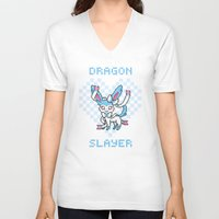 sylveon V-neck T-shirts featuring 8-Bit Shiny Sylveon by einjelato