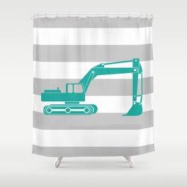 Aqua Excavator Shower Curtain