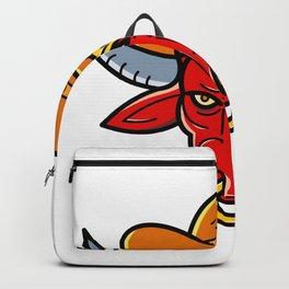 Bull Cowboy Hat Mono Line Art Backpack