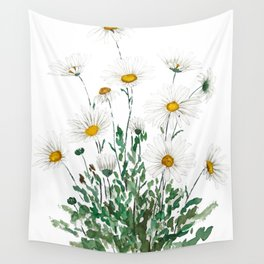 white Margaret daisy watercolor Wall Tapestry