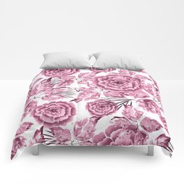 Dusty pink flowers. Comforters