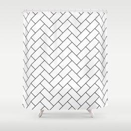 Traditional Herringbone - Black Shower Curtain