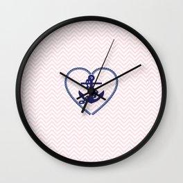 Blush pink chevron navy blue vintage nautical anchor Wall Clock