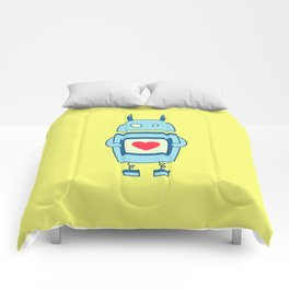 Cute Clumsy Robot With Heart Comforters