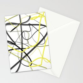 Yellow Black Strokes by LH Stationery Cards