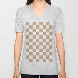 Checkered (Tan & White Pattern) Unisex V-Neck