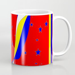 White, Blue and Yellow Stripes with Stars Coffee Mug
