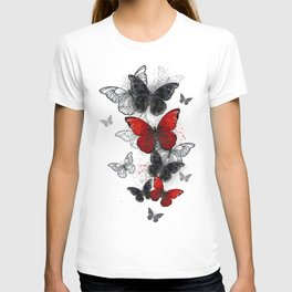 Flying Black and Red Morpho Butterflies T-shirt