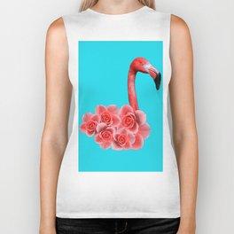 Flamingo with flowers Biker Tank