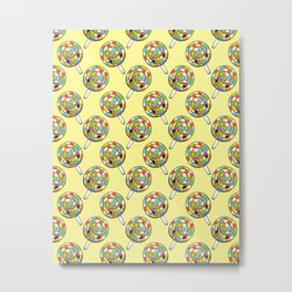 Rainbow Lollipop Pattern Metal Print