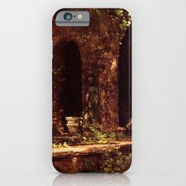 Carl Blechen - Grotto in The Park of The Villa d'Este near Rome - German Romanticism - Oil Painting iPhone Case
