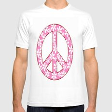 Peace Sign With Flowers In Pink White Mens Fitted Tee MEDIUM