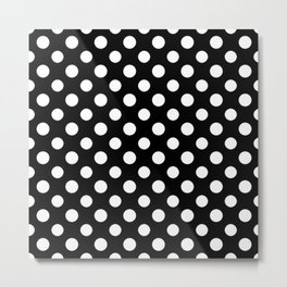 Black and White Polka Dot Pattern Metal Print