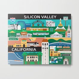Silicon Valley, California - Collage Illustration by Loose Petals Metal Print