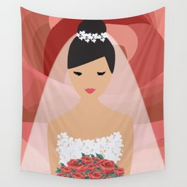 Roses Bride Wall Tapestry