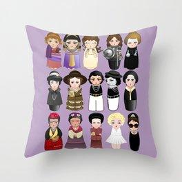 Kokeshis Women in the History Throw Pillow