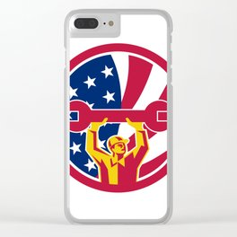 American Mechanic USA Jack Flag Icon Clear iPhone Case
