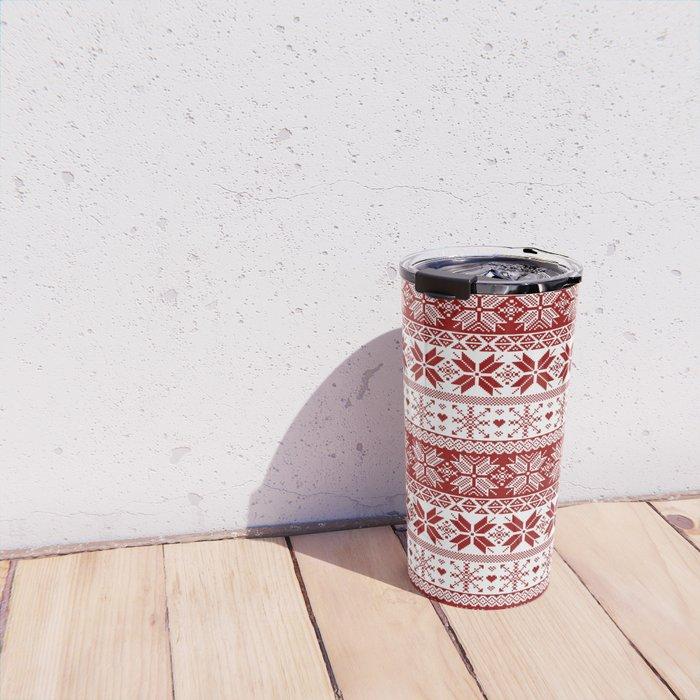 Red Winter Fair Isle Pattern Travel Mug