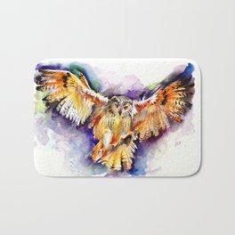 Night Owl Watercolor, Hunting Owl, Flying Brown Owl Bath Mat