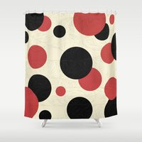 polka Shower Curtains featuring Ladybird Polka by Paula Belle Flores