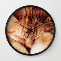 garfield Wall Clocks featuring Garfield Sleeps by Rachel's Pet Portraits