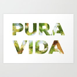 Pura Vida Costa Rica Palm Trees Art Print