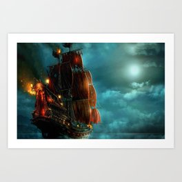 Pirates on sea Art Print