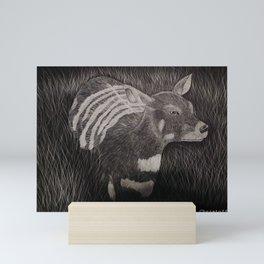 African deer scratch board drawing by Katy Christoff Mini Art Print