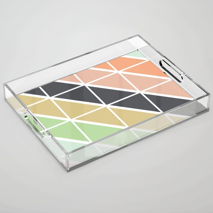 Retro Geometric Triangle Pattern Acrylic Tray