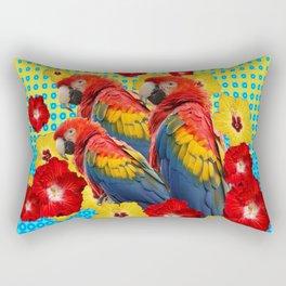 YELLOW-BLUE  FLORAL MACAWS & RED YELLOW HIBISCUS Rectangular Pillow
