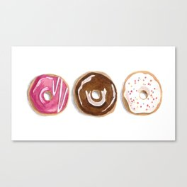 Donuts in watercolor Canvas Print